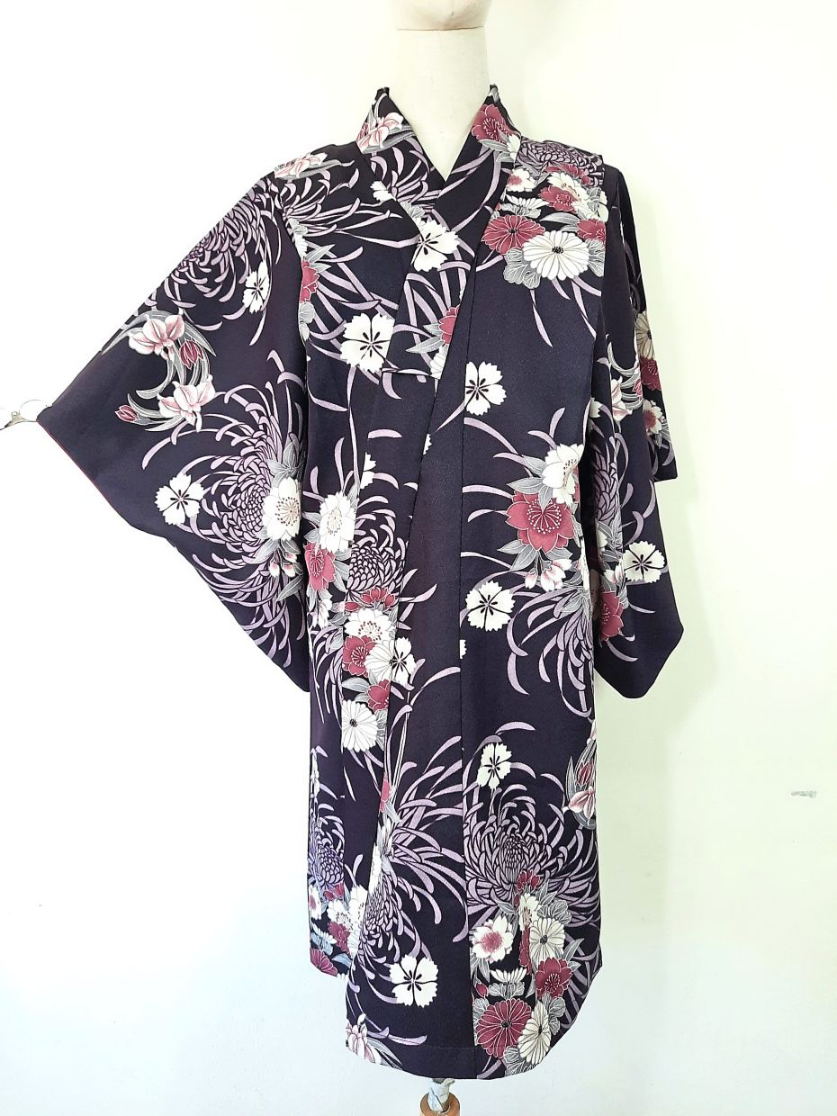 A wrap jacket reimagined from a kimono garment.