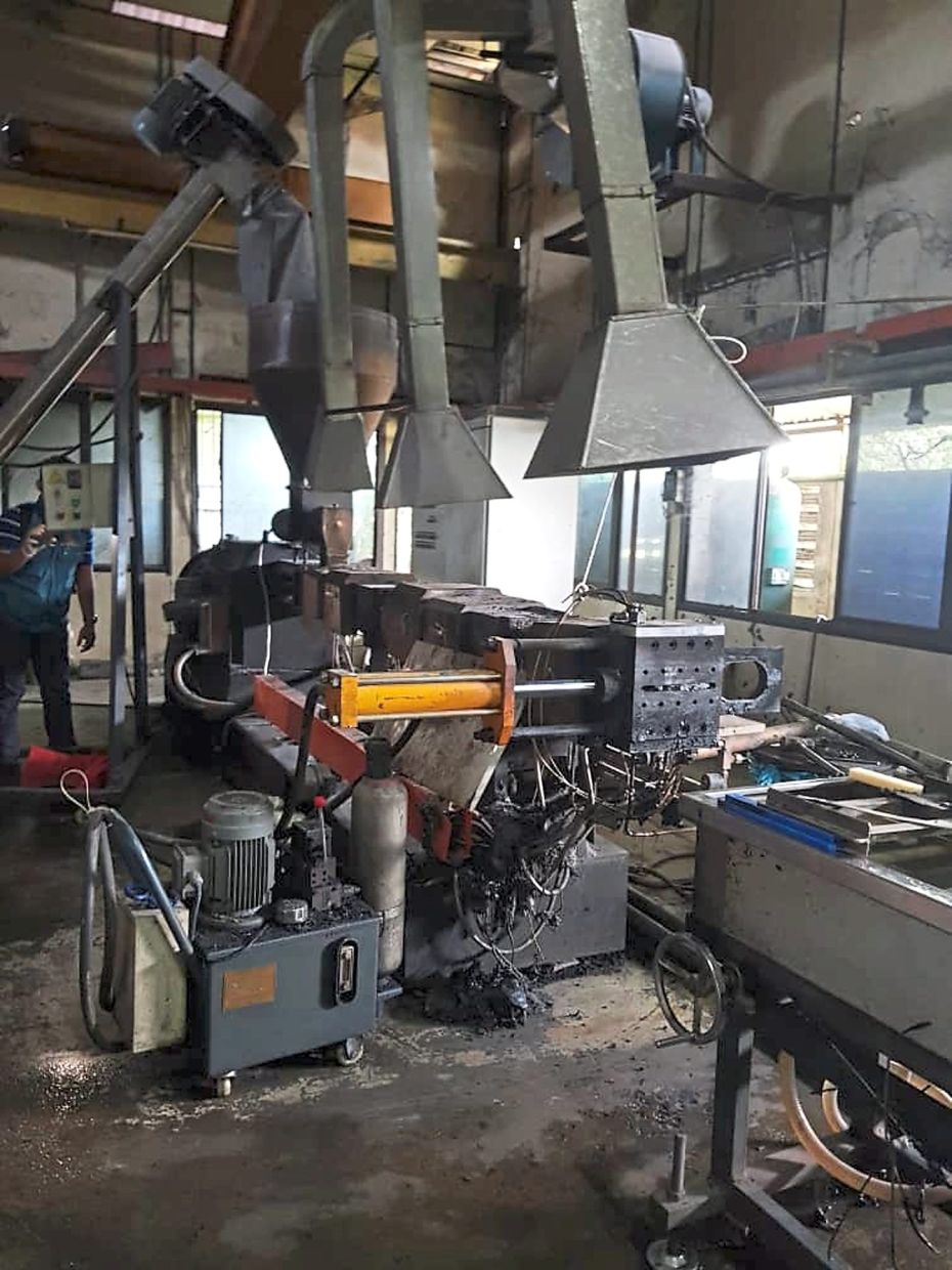 Some of the machinery seized from a factory in Prai industrial area.