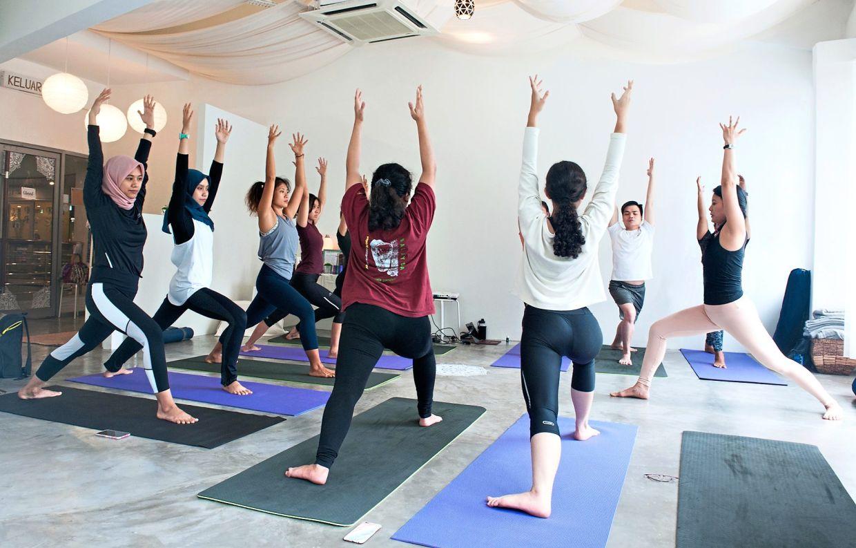 Pre-pandemic yoga classes at One Earth Yoga in Mont Kiara, Kuala Lumpur. Photo: Evelyn Loh