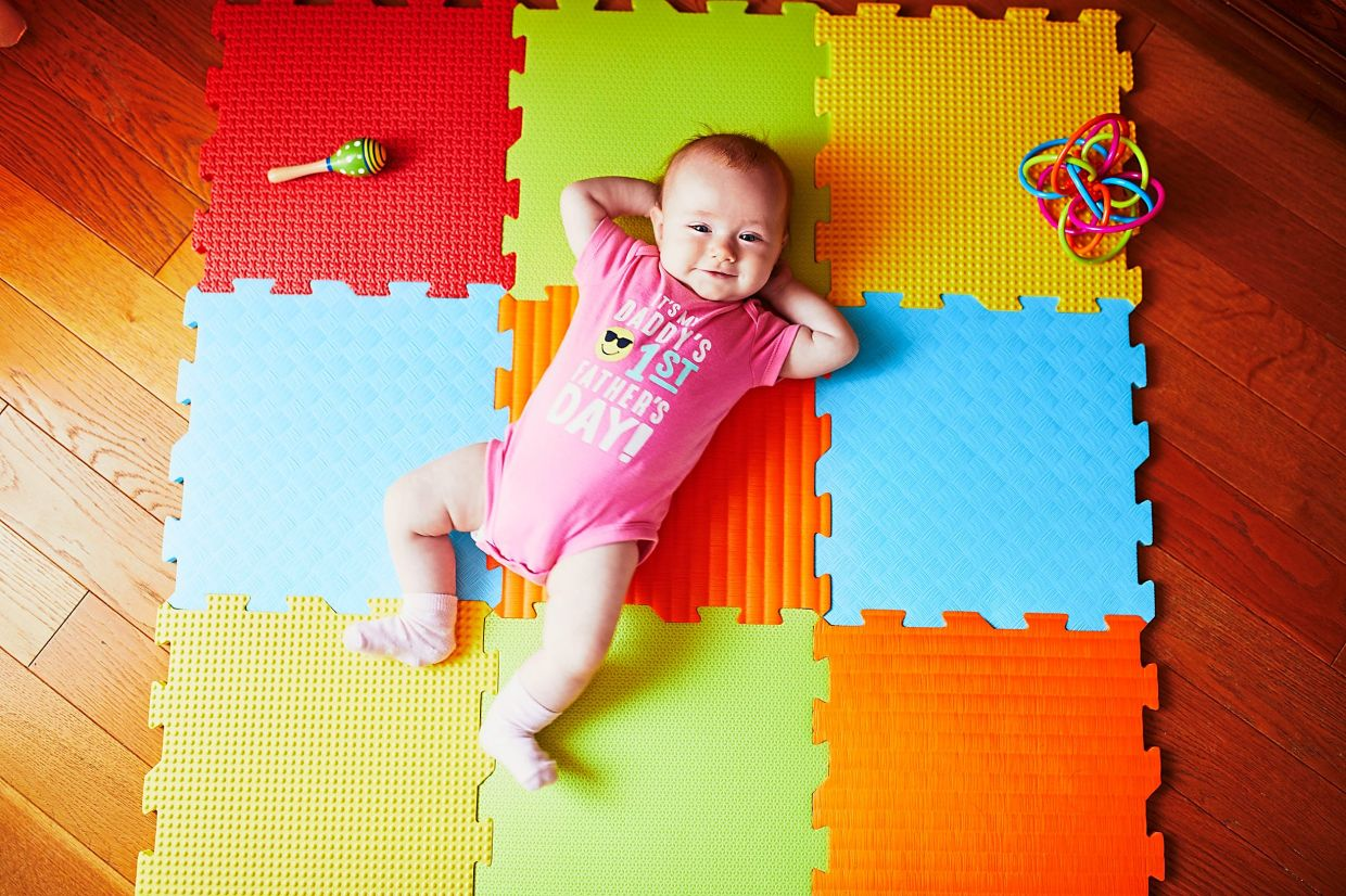 These affordable interlinked foam tiles can not only function as a child's playmat, but also exercise flooring for all ages.