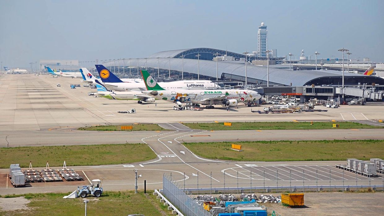 The Kansai International Airport is situated on a man-made island.