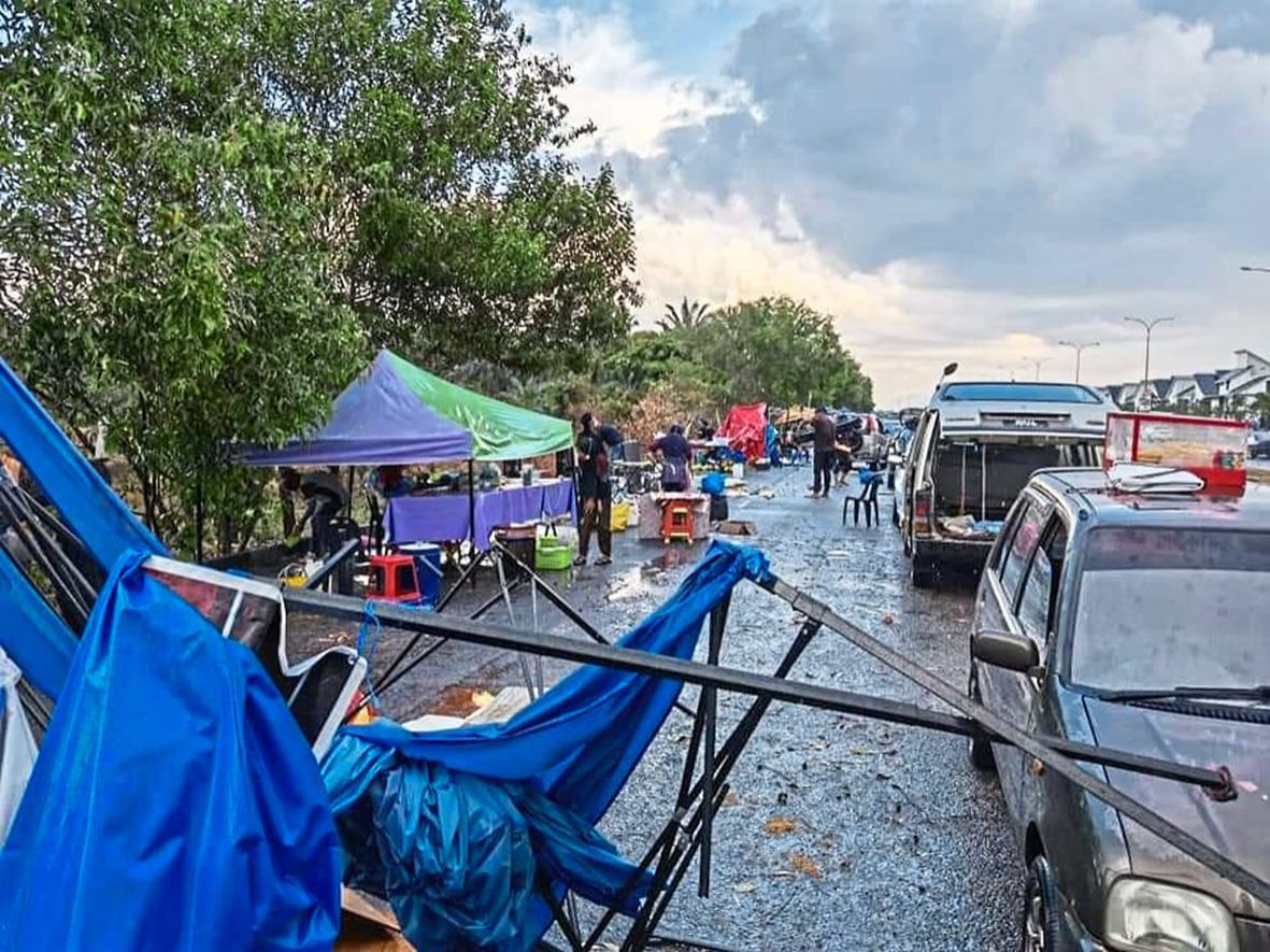 Tents belonging to some 30 street vendors felt the wrath of the storm.