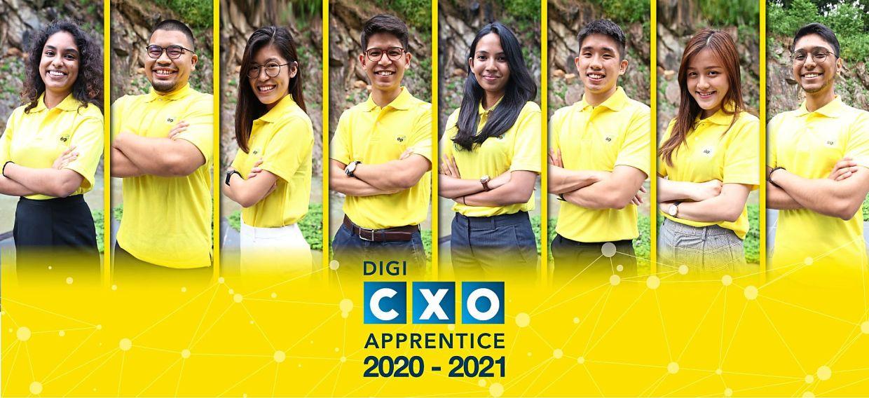New recruits: (From left) Anne, Nasiruddin Nasir, Joana Che Ern Tan, John Paul, Sharifah Sarah, Edgar Zhe Qian Koh, Michelle Yeong and Giridhran Palani have won the opportunity to be apprentices to Digi's CXOs.