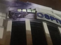 Signboard at Ampang Puteri Specialist Hospital catches fire