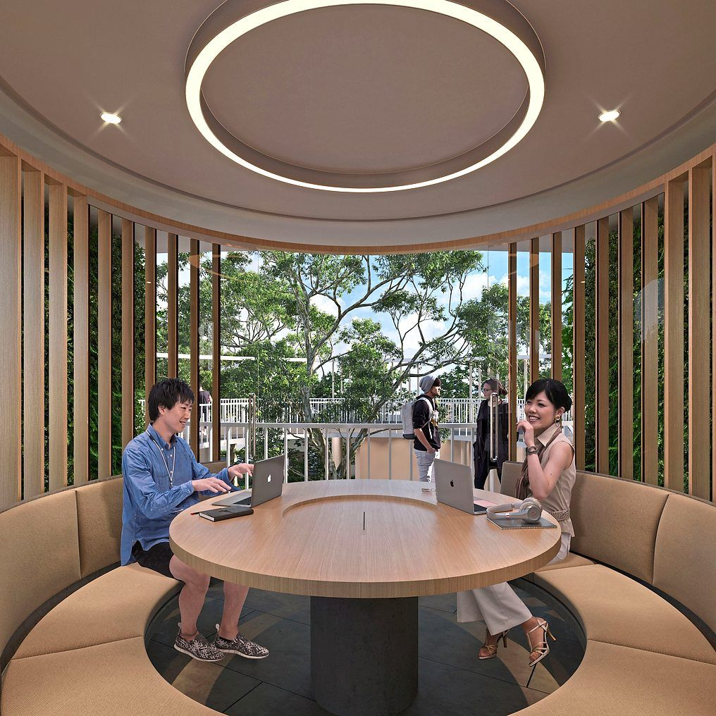 Working pods provide private work spaces near home.