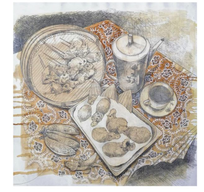 Zurin Shaari's 'Having A Cup Of Coffee I' (pencil and natural ink on canvas, 2021). Photo: Handout