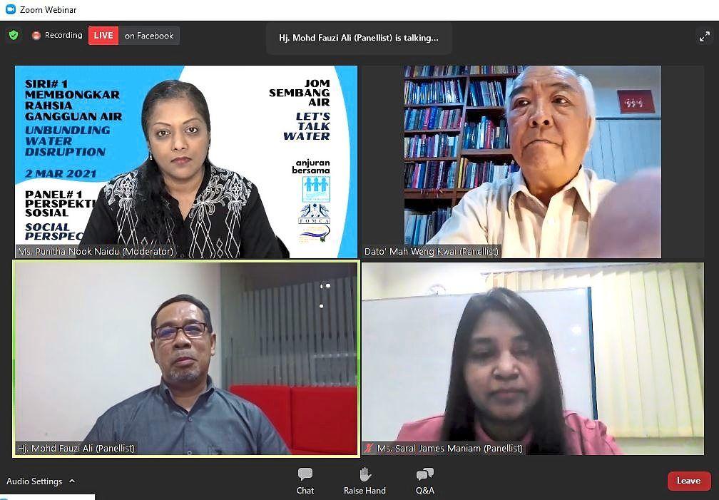 (Clockwise, from top left) Moderator Punita Nook Naidu, Mah, Saral and Mohd Fauzi discussing water issues via the webinar.
