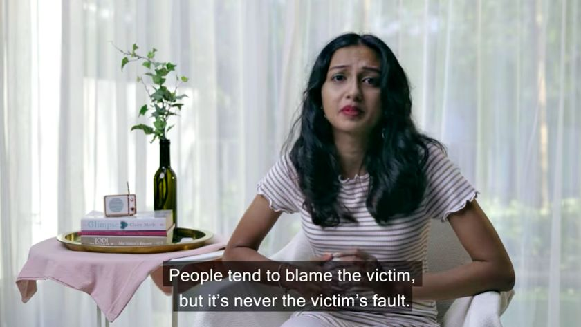 Tharsyani speaks up about her father's friend, an elderly man, who would regularly call her and make sexual remarks to her. Photo: YouTube/Pocket Angel