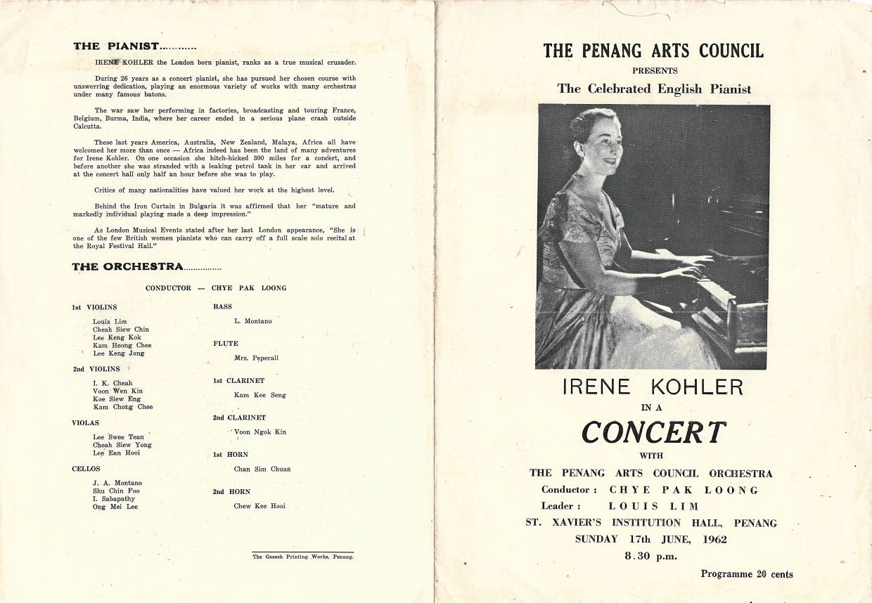 A Penang Arts Council programme from 1962 featuring British pianist Irene Kohler. Photo: Penang House of Music