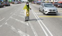Faded road markings pose danger