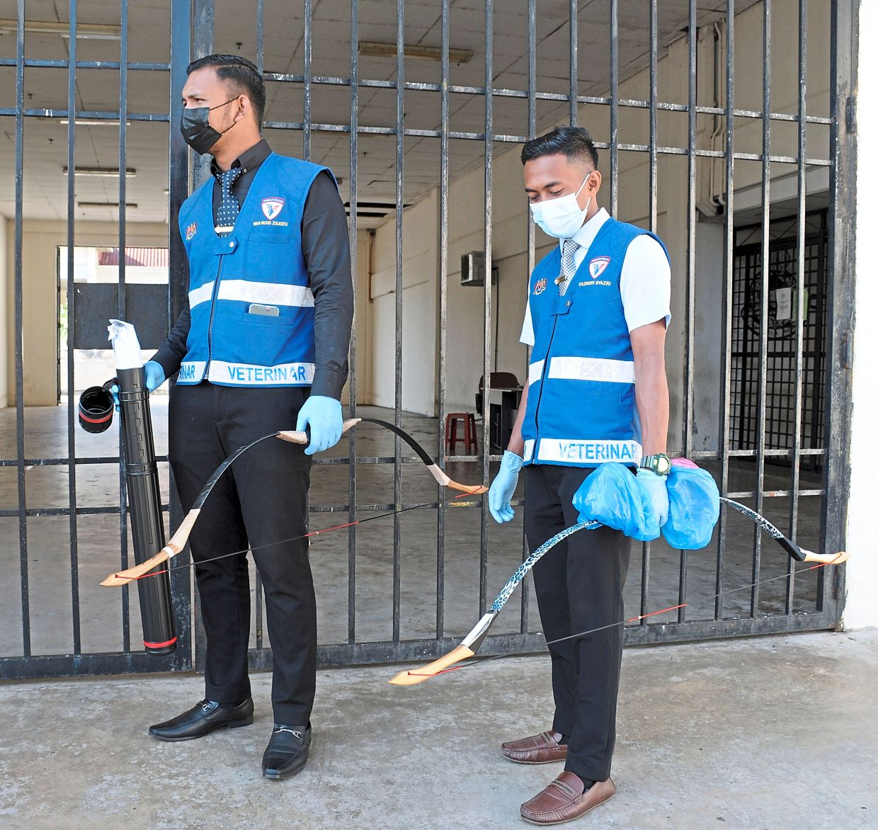 Deadly weapons: Veterinary Services officers with bows belonging to the suspects and the arrows in a black tube (pic, below) in Alor Setar. — G.C. TAN/The Star