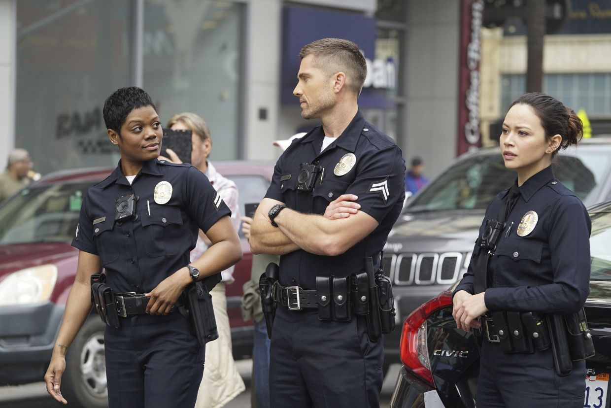 'Don't be a buzzkill, Chen – Bradford and I have been competing for buzziest buzzcut on the LAPD for years.'