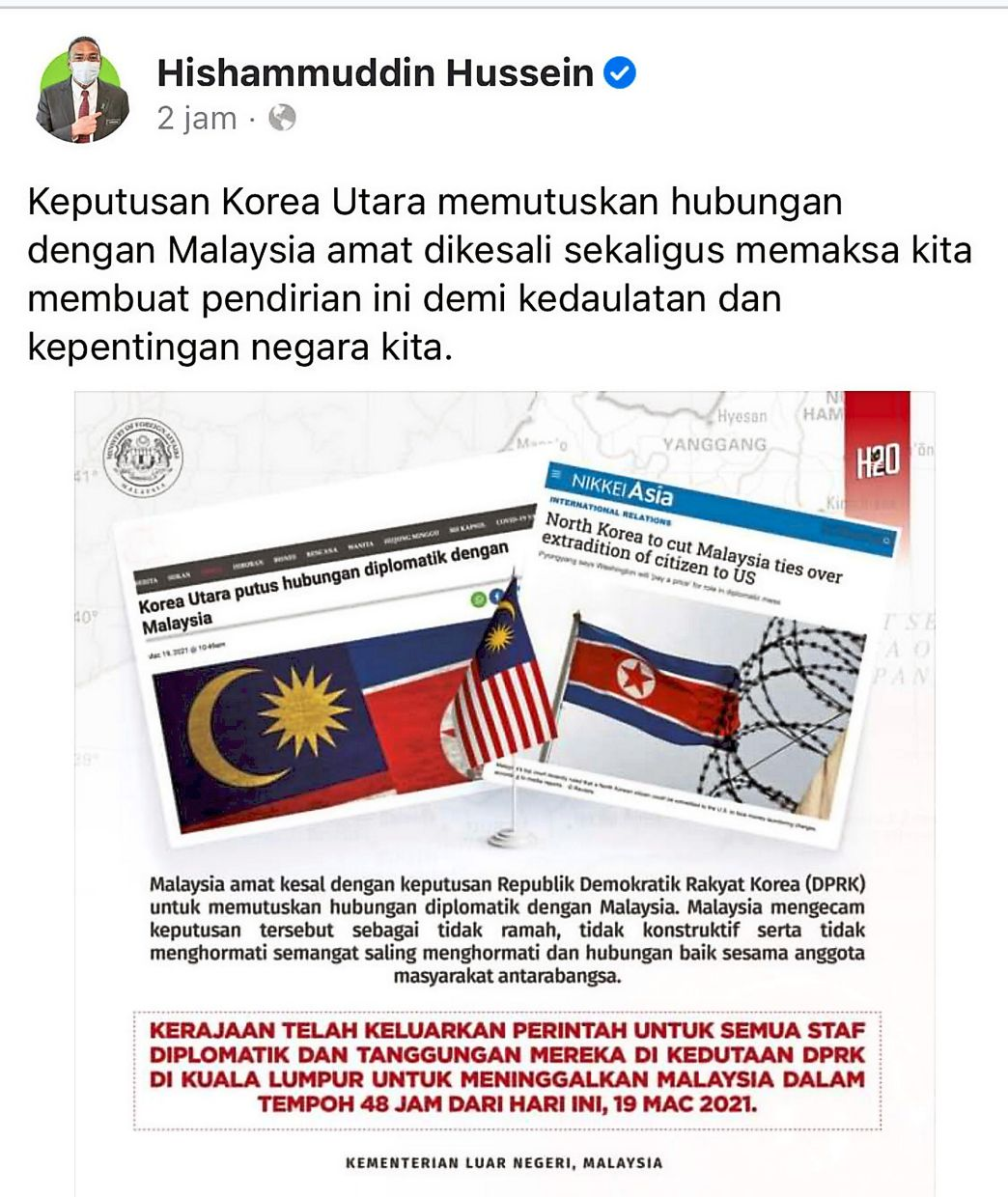 Matter of concern: A screencap of Foreign Minister Datuk Seri Hishammuddin Hussein's Facebook post expressing his regret over North Korea's decision to sever diplomatic ties with Malaysia.