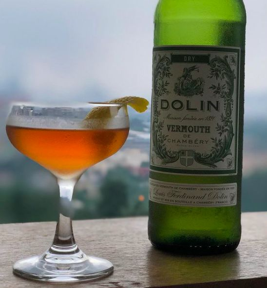 The vintage Vermouth Cocktail is made using a base of dry vermouth.