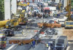Efforts to recover body in SUKE highway crane collapse continue