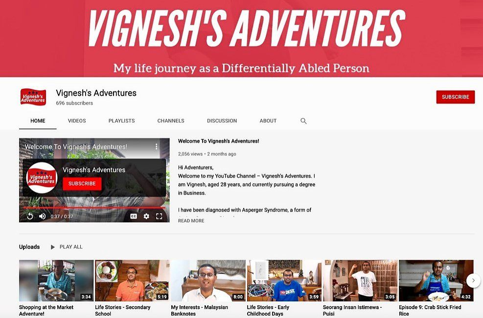 Vigneshwaran shares his life journey as a person living with Asperger's on his YouTube channel.
