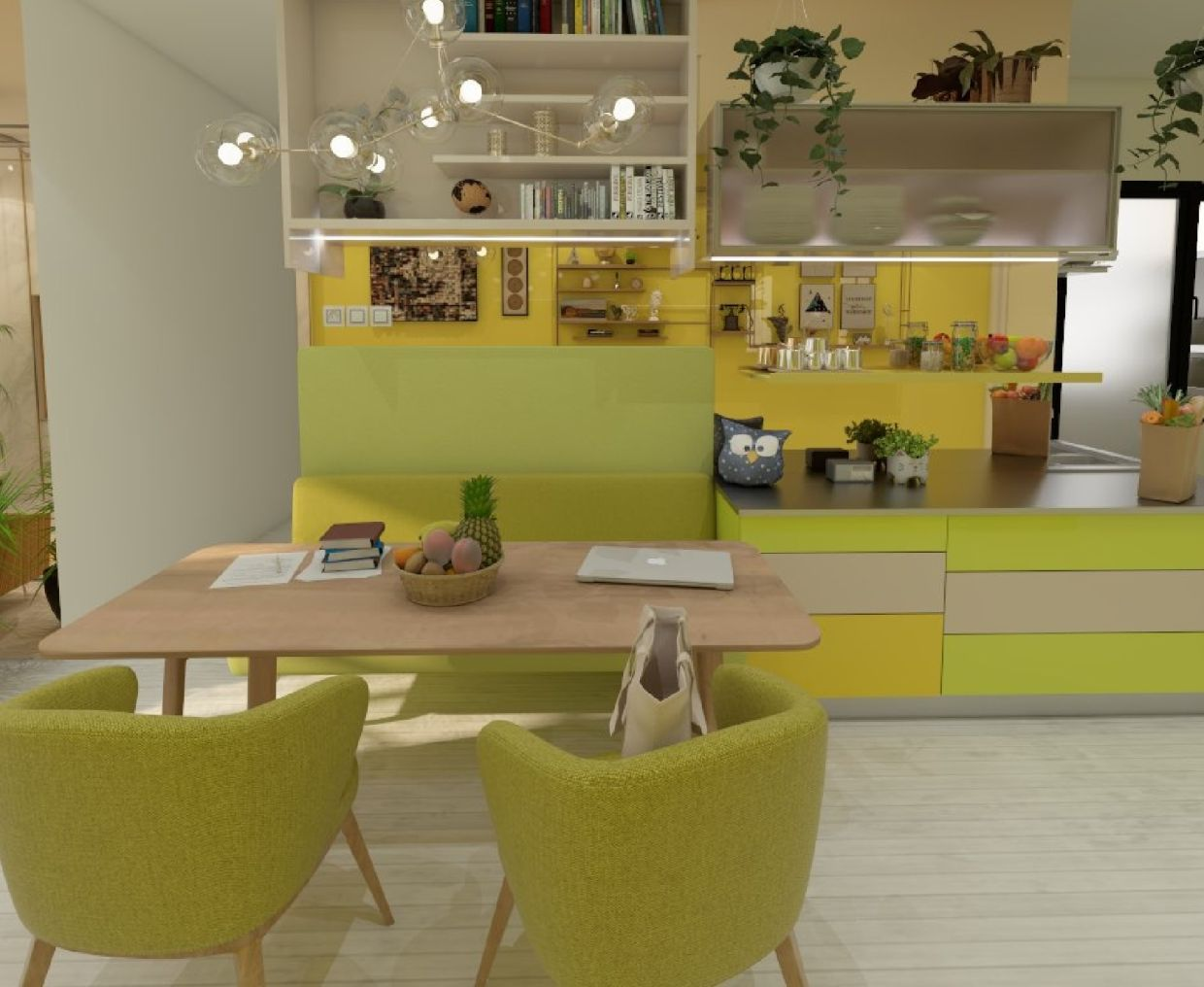 Maximise your living room space by using the existing table as your work desk.