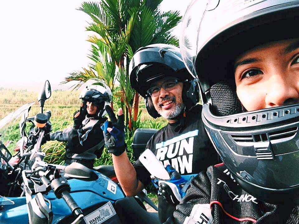 Shah (centre) is happiest when he is surrounded by his favourite biker buddies – his daughters Suliana (left) and Atiqah. Photos: Shah Shariff