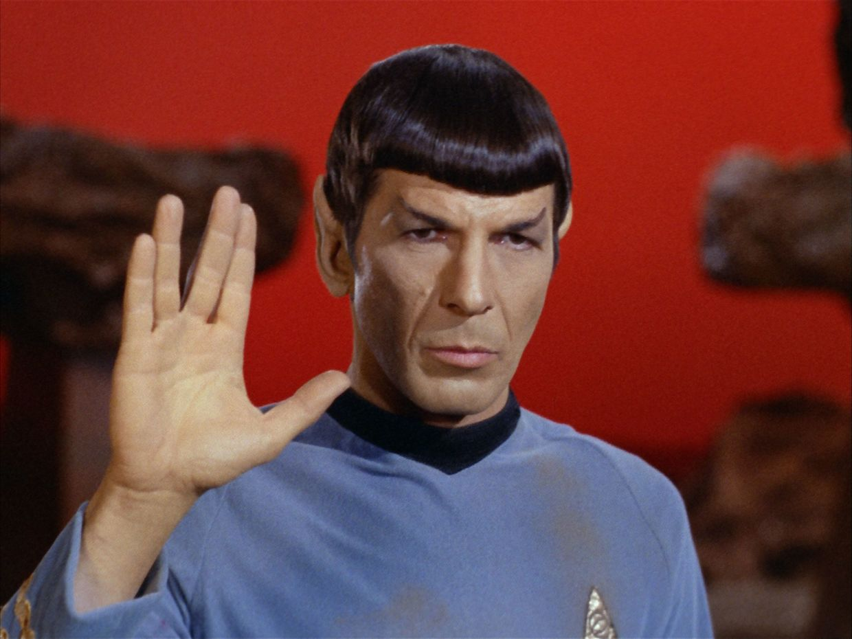 The idea for the half-human, half-Vulcan's hand gesture originated from Nimoy himself. Photo: Handout