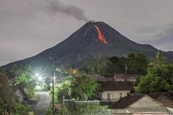 Merapi volcano spews ash, debris in new eruption