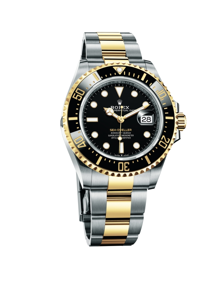The Oyster Perpetual Sea-Dweller in Yellow Rolesor with a black Cerachrom bezel insert and a black dial. Photo: Rolex