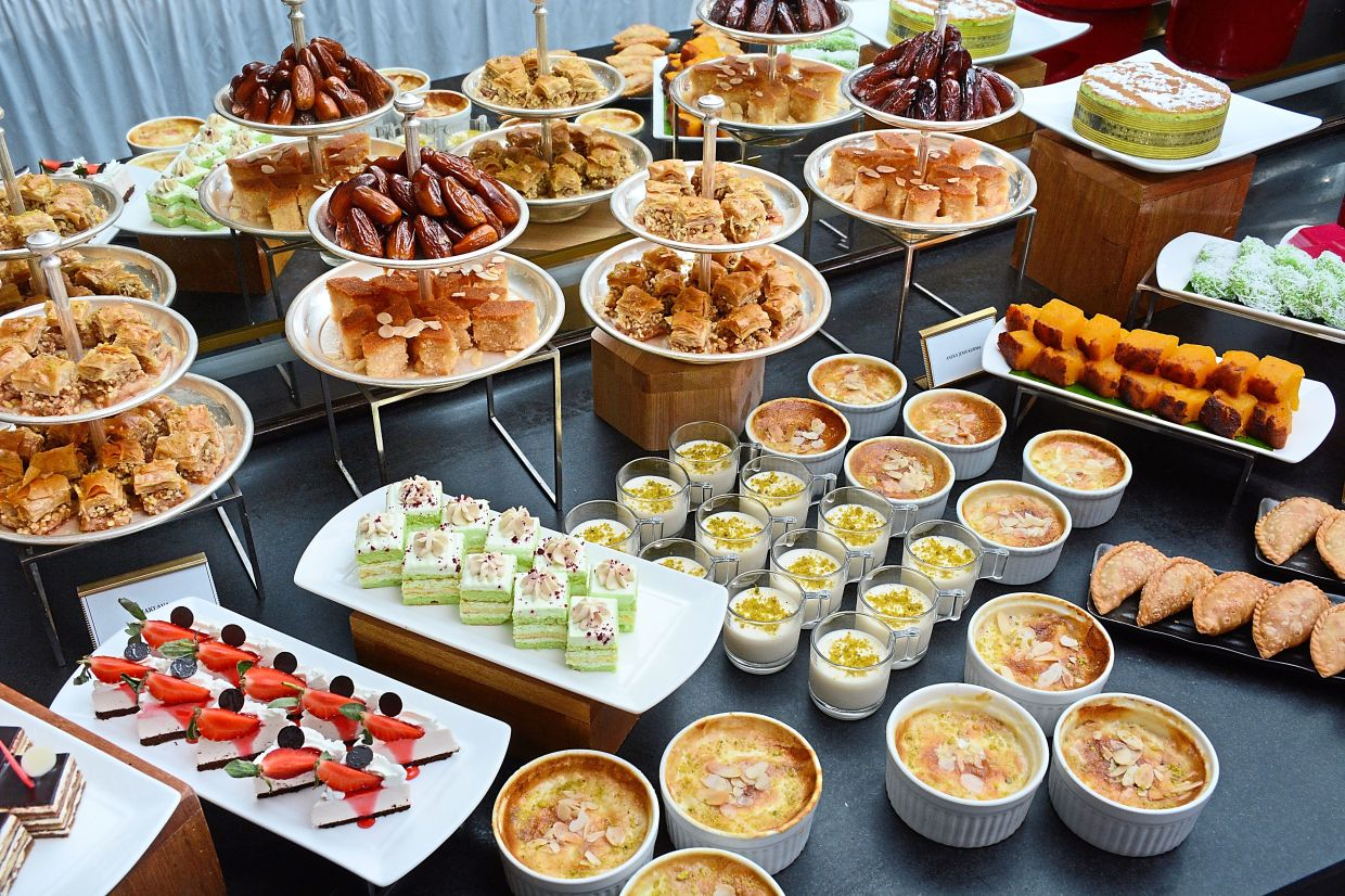 There are  also Arabian sweets to  jazz up the dessert  selection alongside  Kuih Melayu and French pastries.