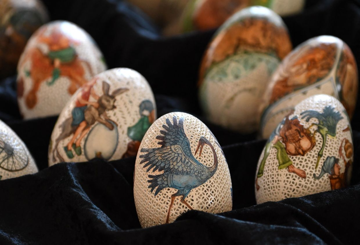 Csuhaj's artfully decorated Easter eggs made of goose eggs. Photo: AFP