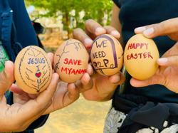 Protesters decorate Easter eggs in coup-hit Myanmar