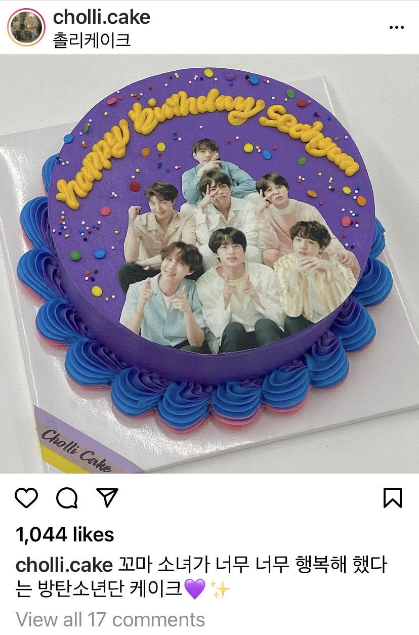 Not only are they on top of the charts, BTS were also the top when it cake to cakes made by fans. Photo: Instagram/cholli.cake