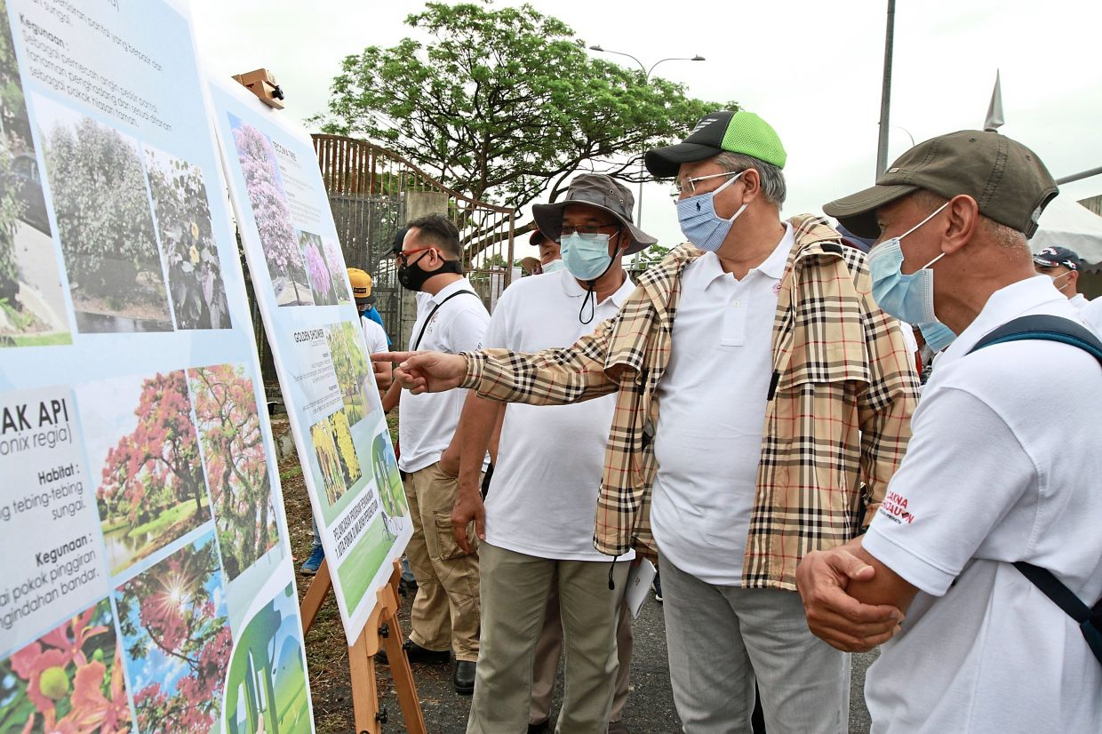Annuar (second from right) looking at the information board about the tree-planting exercise during the launch of the programme.