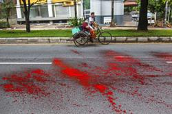 Protesters paint Yangon red