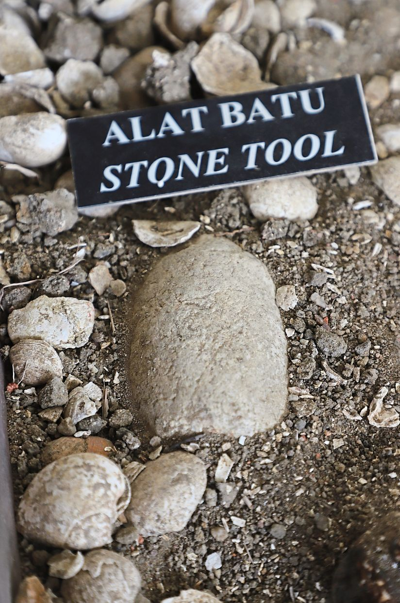 An ancient stone tool that was dug up at the archaeological site.