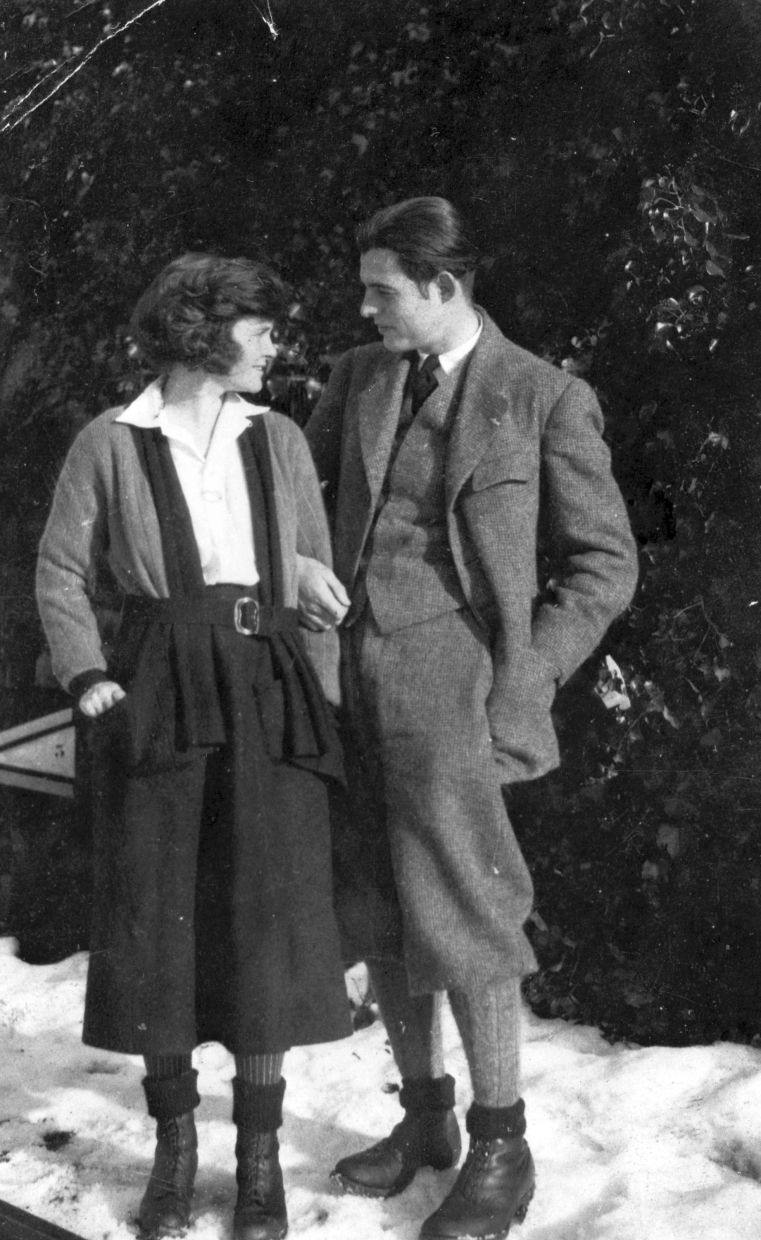 In this 1922 photo, Hemingway stands with his first wife Hadley in Chamby, Switzerland. Photo: AP