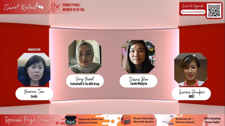 Women in Retail Power Panel (from left): StarBiz\'s deputy news editor Yvonne Tan, FashionValet & The dUCK Group\'s co-founder Vivy Yusof, Lazada Malaysia\'s chief marketing officer Diana Boo and Malaysia Digital Economy Corporation\'s CEO Surina Shukri.