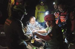 Meditating monk rescued from flooded cave