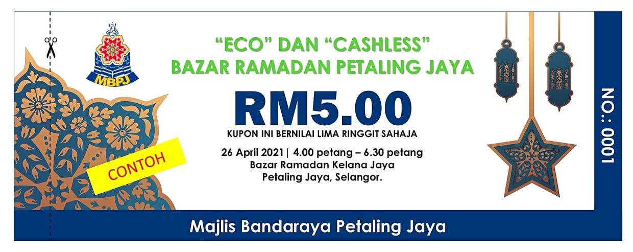 A sample of a cash voucher that will be given to Ramadan bazaar visitors in Petaling Jaya who bring their own food containers and bags.