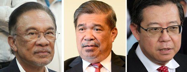 From left: Datuk Seri Anwar Ibrahim, Mohamad Sabu and Lim Guan Eng.