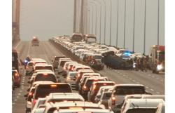 Massive jam on Penang Bridge after car overturns in accident midspan