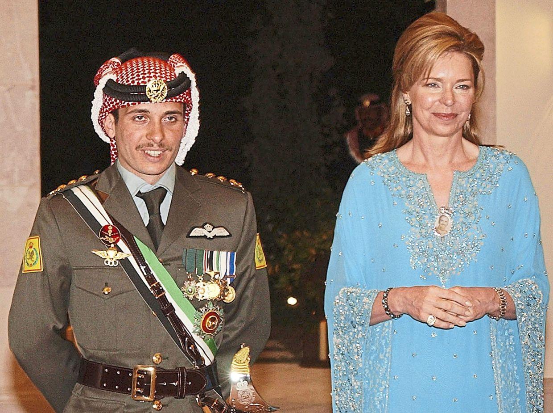 Prince Hamzah with his mother Queen Noor during his wedding ceremony in Amman in 2004. — AP