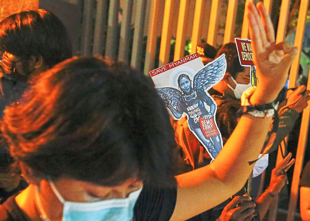 Protesters remembering Angel, also known as Kyal Sin, who was shot during a protest against the military coup in Myanmar, outside the Asean building in Jakarta. — Reuters