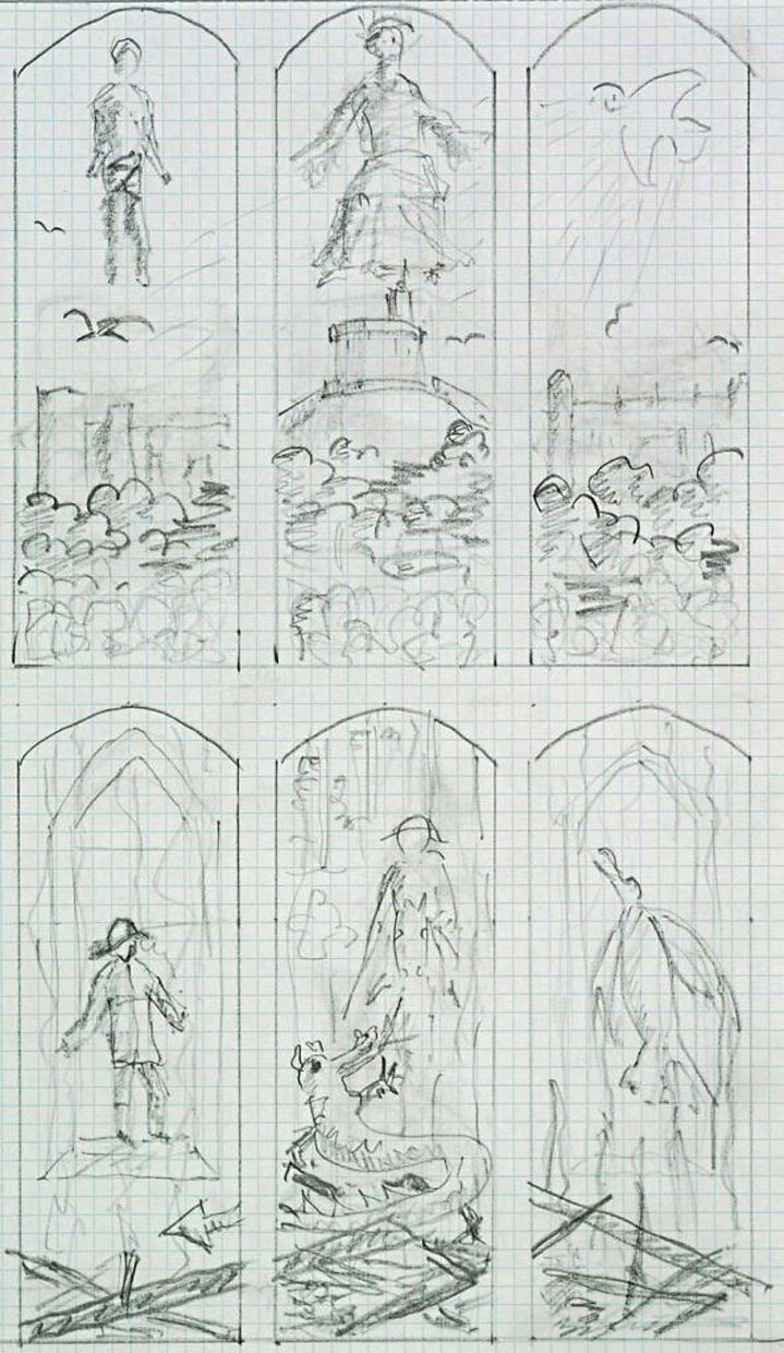 Prince Philip's sketches for the stained glass windows for a private chapel at Windsor Castle.
