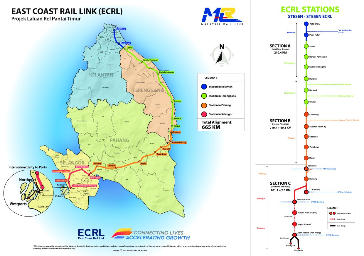 A map showing the northern alignment for the ECRL