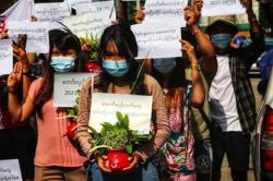 Anti-coup protesters rally on Myanmar New Year holiday