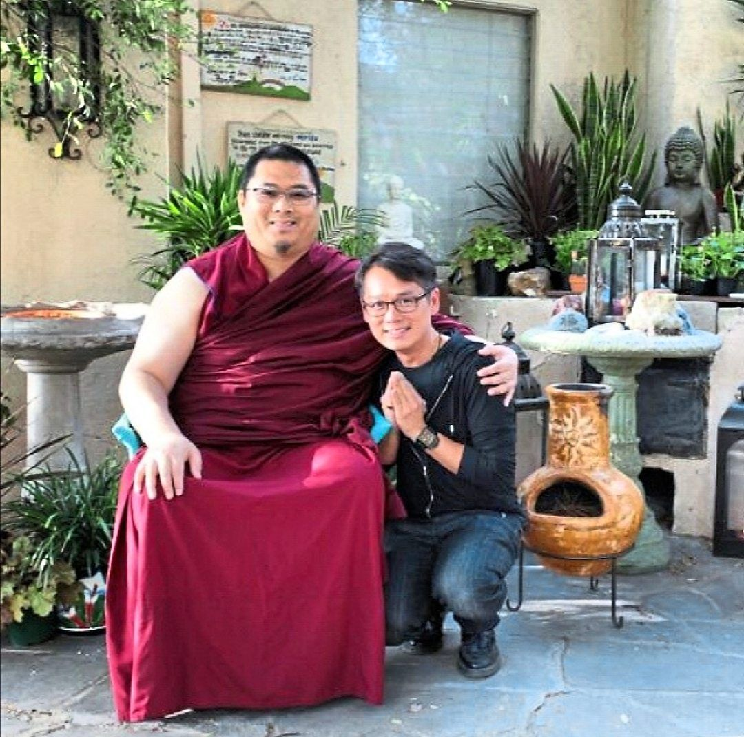Thong (right) with the late Tsem Rinpoche, his spiritual teacher and mentor, in 2006. Photo: JP Thong