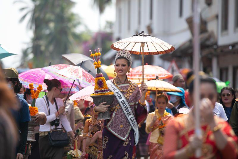 Miss Universe Laos 2020 Christina Lasasimma participates in a parade celebrating the Songkran Festival or the Lao New Year in Luang Prabang, Laos. - Xinhua