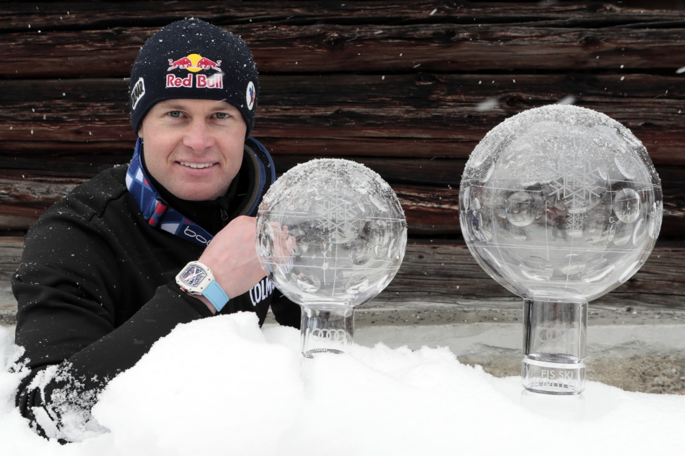 Pinturault with his trophies, wearing the RM 67-02 on his wrist. Photo: Richard Mille