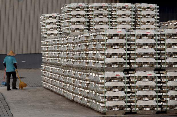 LME aluminium was up 0.8% at $2,332.50 a tonne. (File pic shows LME aluminium storage at Port Klang)
