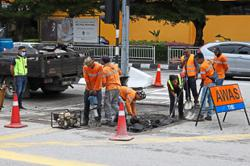 Sunken road stretch repaired in a few hours
