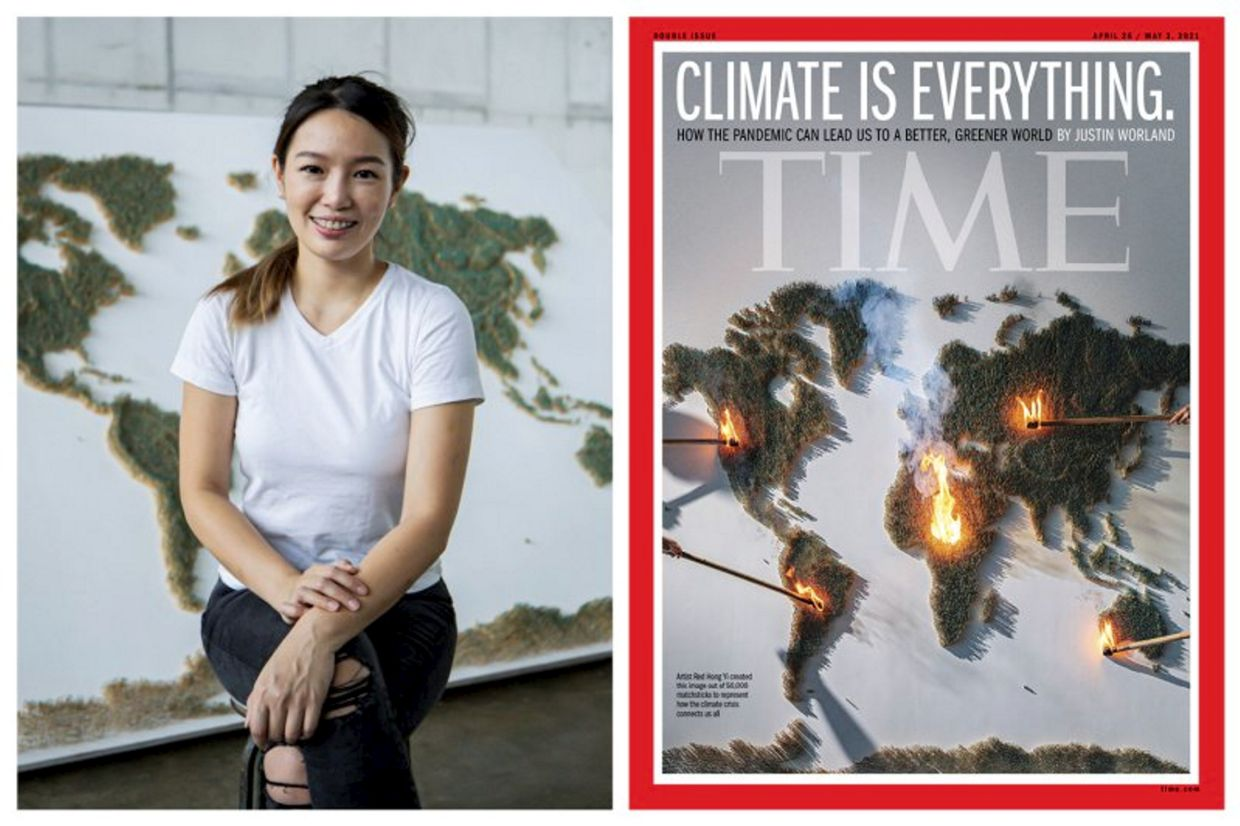 Red Hong Yi's installation work on climate change has made the cover of the latest issue of 'Time' magazine (April 26). Photo: Time/Annice Lyn
