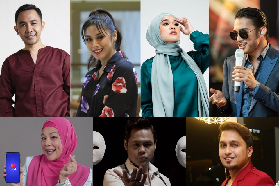 Lazada's Moreh Bersama Lazada livestream session on April 23 (10pm-11pm) features (clockwise from top left) Hafiz Hamidun, Zizi Kirana, Ernie Zakri, Hael Husaini, Haziq Hussni, Syamel and Sharifah Shahirah.